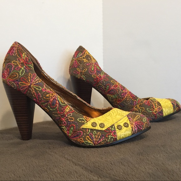 Naughty Monkey Shoes Buckle Patterned Heel With Leather Poshmark Adorable Patterned Heels
